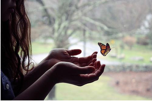 Фото девушки с бабочкой